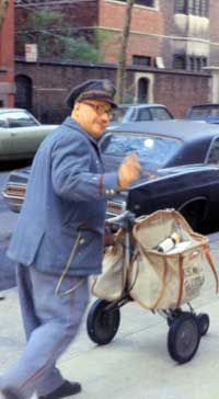 One of the mailmen, in the 1970's, serving the Crown Heights section of Brooklyn, New York. (Photo: The Menachem Wolff Collection/Lubavitch Archives)