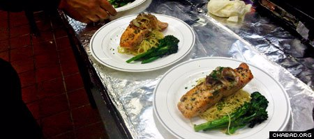 Kosher plates of salmon await delivery to their tables at Huntsville, Ala.'s 801 Franklin restaurant.