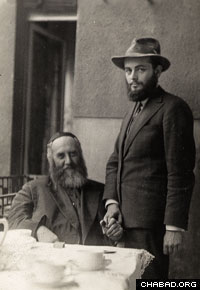A photograph of the Sixth Lubavitcher Rebbe, Rabbi Yosef Yitzchak Schneersohn, of righteous memory, and his son-in-law, the future Rebbe, Rabbi Menachem M. Schneerson, of righteous memory.