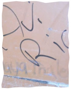 Avi Richler's signature on the wall, written minutes before the author took the picture