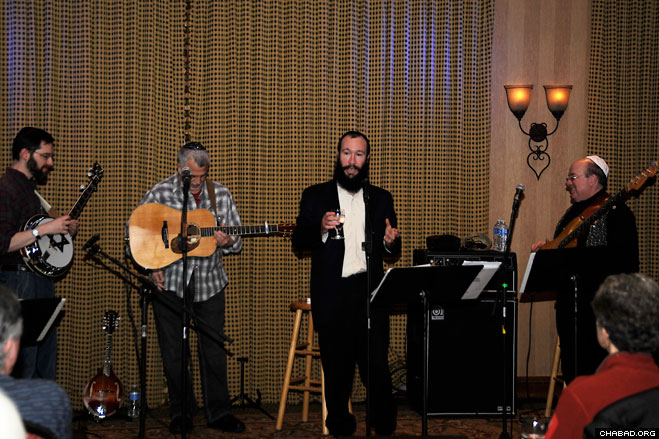Rabbi Zalman Mendelsohn, director of the Chabad-Lubavitch Jewish Center of Wyoming, introduces residents and tourists to Rocky Mountain Jewgrass, one of three acts to perform this winter as part of the Jackson Hole Jewish Music Festival.