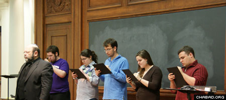 Jewish students at Northwestern University participate in a program sponsored by the Tannenbaum Chabad House.