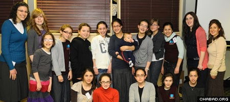 Seventh-grade girls from the Chabad-Lubavitch-run Shluchim Online School at their 2010 reunion