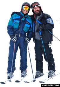 Israeli veteran Yinon Cohen, left, and Rabbi Mendel Mintz enjoy a ski vacation together.