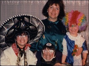 Our family on Purim, 1988.