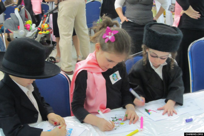 Costumed children get into the Purim spirit at Chabad-Lubavitch of Thailand in downtown Bangkok.