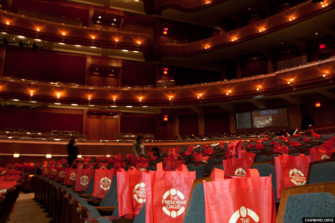 Volunteers prepared the central hall at the New Jersey Performing Arts Center in Newark for more than 800 guests at a recent gala dinner benefitting the Friendship Circle of MetroWest.