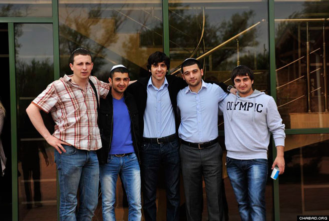 Participants of a Jewish youth gathering pose for a picture in Rostov, Russia.