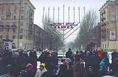 Donetsk, Ukraine - Publicizing the Chanukah Miracle