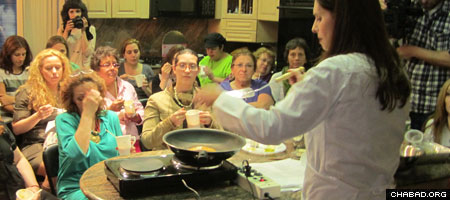 Pastry chef Paula Shoyer leads a cooking demonstration at Chabad-Lubavitch of Sea Gate in Brooklyn, N.Y.