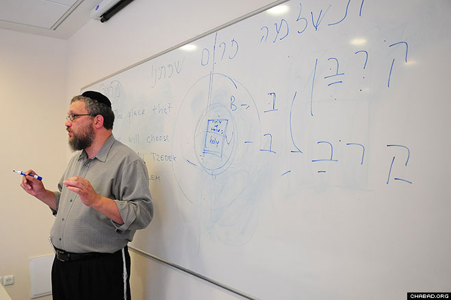 Rabbi Asi Spiegel leads a class as part of the three-week IsraeLinks tour coordinated by the Chabad on Campus International Foundation.