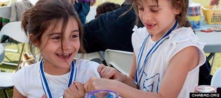 Jewish children in Athens celebrate the start of summer.