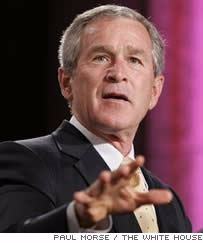 President Bush gestures at the Republican Jewish Coalition's 20th Anniversary Celebration. Wednesday, Sept. 21, 2005