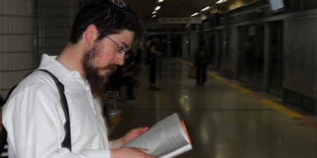 On the way to a visit. We were probably the first people to have ever studied Torah on this spot.