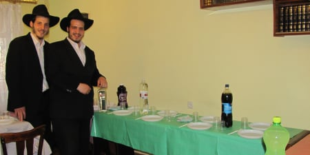 Friday afternoon, the tables are set and our 30 Shabbat guests are about to arrive.
