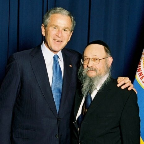 Rabbi Moshe Feller with president Bush.jpg