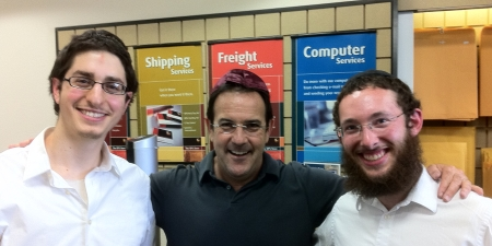 With a friend we met at the UPS store.