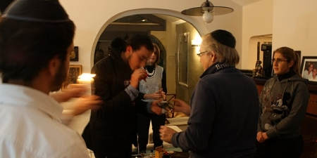 Ushering out the Shabbat in Mario's house.