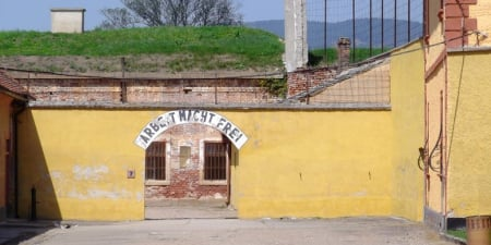 "The cynical words posted above the entrance to the concentration camp read, ""Work makes free."""