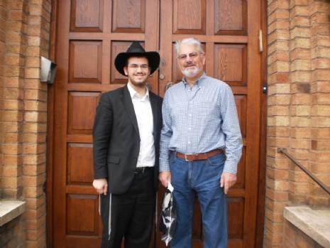 Roving Rabbi Motti Rubin and Robert Pinchus at St. Annes Synagogue (1).JPG