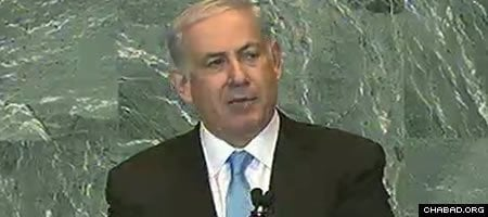 Israeli Prime Minister Benjamin Netanyahu addresses the 66th General Assembly of the United Nations.