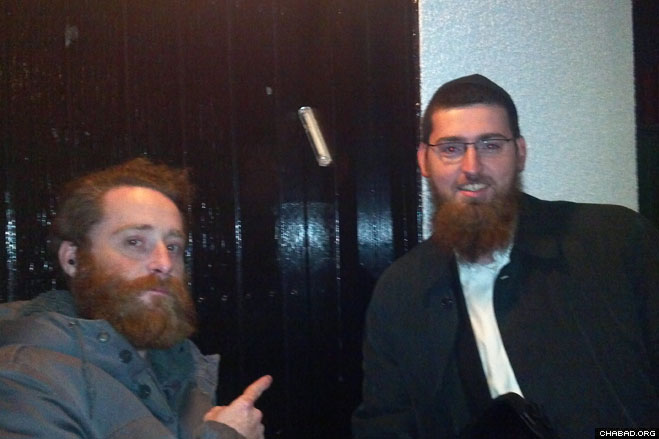 Chabad-Lubavitch rabbinical students Berel Pewzner and Berel Grunblatt arrived in Iceland just before Rosh Hashanah to lead High Holiday prayer services for the island nation's small Jewish community. In between holy days, they provided mezuzahs to anyone who wanted them.