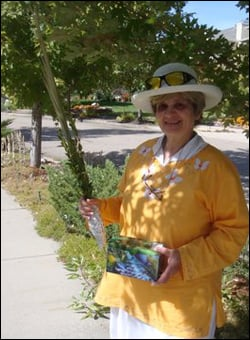 Yehudis with her lulav and etrog set.