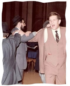 My father dancing with the director of Chabad-Lubavitch of Maryland, Rabbi Shmuel Kaplan, at my circumcision in 1982.