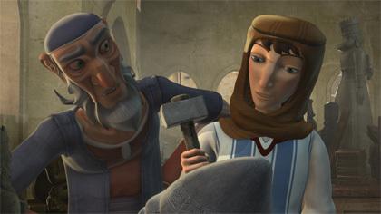 """""""אברהם"""" שובר את פסלי אביו. צילום מתוך הסרט Young Avraham."""