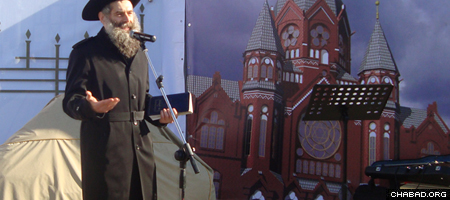 Rabbi David Shvedik addresses the groundbreaking ceremony for a new synagogue in Kaliningrad, Russia.