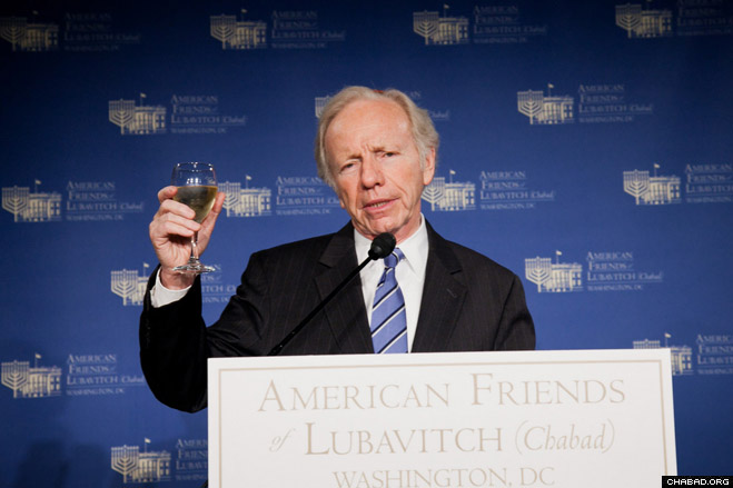 Connecticut Sen. Joseph Lieberman offers a toast at the annual benefit event in support of American Friends of Lubavitch (Chabad), which was held last week at the elegant East Hall of Washington, D.C.'s Union Station.