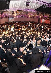Dancing erupts at the Brooklyn Cruise Terminal.