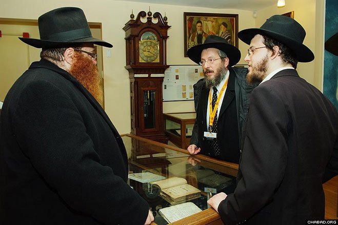 Chabad-Lubavitch emissaries from around the world tour the library of Agudas Chasidei Chabad, whose priceless collections include centuries-old handwritten manuscripts carried out of Europe by the Rebbe, Rabbi Menachem M. Schneerson, of righteous memory.