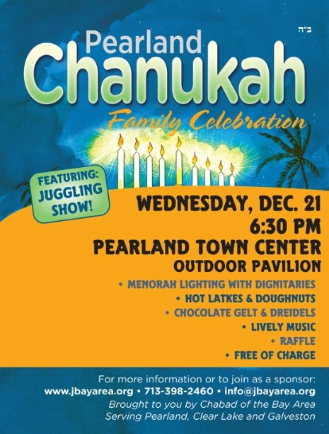 Menorah Lighting at Pearland Town Center on Wednesday, December 21, 2011 | 6:30 pm (scroll down for text only version or enable images for best viewing)