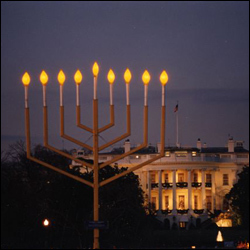 The Menorah at the White House in Washington, DC. (Photo: Lubavitch Archives)