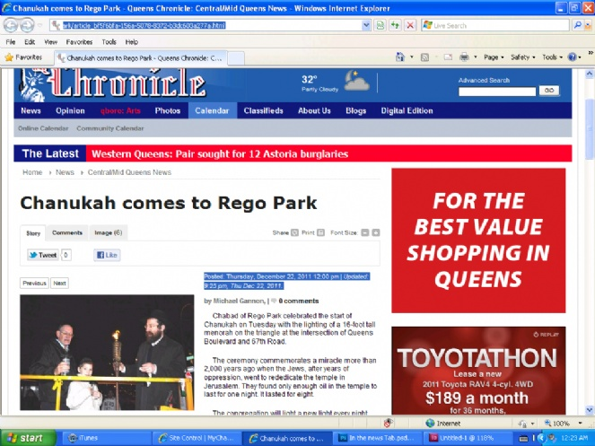 Chanuka comes to Rego Park