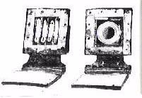 Inside view: In the head-tefillin ( L ) the four Torah portions are inscribed on four strips of parchment and placed in four compartments. A single scroll contains all four portions in the arm-tefillin ( R ).