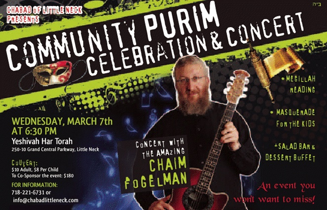 Community Purim Celebration and Concert with Chabad of Little Neck