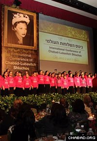 The banquet drew on the participation of Chabad-Lubavitch emissaries young and old, including their daughters, who performed from the stage. (Photo: Rivka Lifshitz)