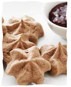 Passover Chocolate Meringues with Raspberry Dipping Sauce
