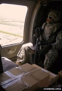 Boxes of Passover supplies make their way to a military installation overseas. (File photo)