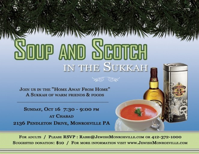 Soup and Scotch in the Sukkah - 5772 - Chabad of Monroeville