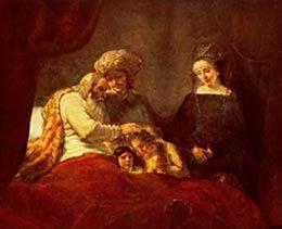 Rembrandt: Jacob blessing Joseph's sons
