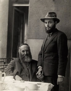 The Rebbe with his father-in-law, the Previous Rebbe