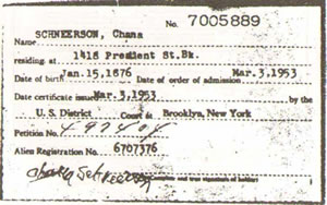 Rebbetzin Chana U.S. Citizen Card