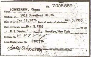 La carte de citoyenneté américaine de la Rabbanit 'Hanna