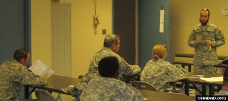 Rabbi Chesky Tenenbaum teaches Jewish soldiers in the Maryland Army National Guard about High Holiday customs.