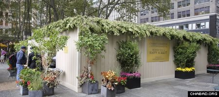 Standing in the middle of Bryant Park behind the New York Public Library, the sukkah operated by Chabad-Lubavitch of Midtown Manhattan attracts residents, commuters and tourists alike.