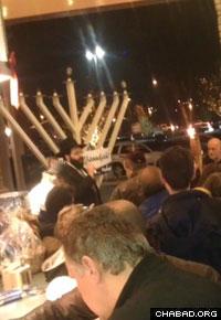 Community members in Folsom turn out for a Chanukah menorah lighting.