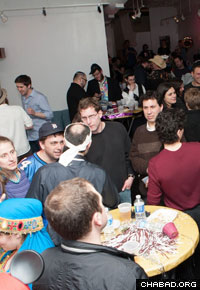 Congregants enjoy a Chabad House event in Bucktown-Wicker Park.